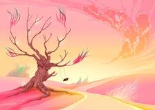 Romantiskt landskap med trädet och solnedgång Arkivfoto