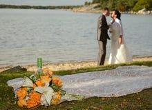 romantiskt landskapbröllop Royaltyfri Bild