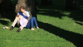 Romantiskt parsammanträde under en palmträd En flicka på varven av en grabb Ett älska par som vilar i en parkera på gräset stock video
