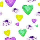 Romantiskt sömlöst kort för modelldesignförälskelse med violetta, gröna och gula hjärtor vektor illustrationer