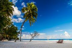 Romantiskt strandlandskap med sunbeds på Maldiverna Arkivbilder