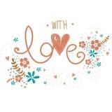 Romantiskt valentindagkort med gjord ordförälskelse, blommor, kronblad, hjärtor och ris Det gulliga bröllopkortet, sparar datumde Royaltyfri Foto