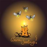 Romantiskt varmt kort med stearinljuset och eldflugor Royaltyfri Fotografi