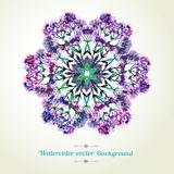 Romantiskt vattenfärgkort med blommor Bil för dekordesignhälsning Arkivfoto