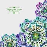 Romantiskt vattenfärgkort med tre delikata dekorativa beståndsdelar Royaltyfri Bild
