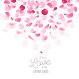 Romantiskt vektorkort för lyxiga nya rosa kronblad vektor illustrationer