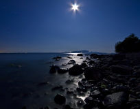 σεληνόφωτο μεσάνυχτων romantizm &ka Στοκ φωτογραφία με δικαίωμα ελεύθερης χρήσης