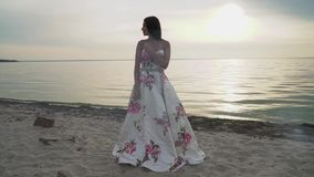 Romantyczna brunetka w długiej sukni na tle rzeka zdjęcie wideo