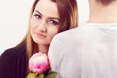 Romantyczna fotografia piękna para na białym tle Zdjęcia Stock