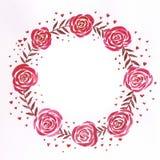 Romantyczna i śliczna akwarela, handmade czerwony wianek z romantycznymi różami ilustracja wektor