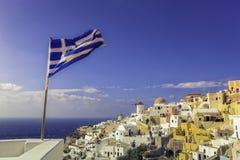 Romantyczna i piękna wioska Oia w Santorini Obrazy Stock
