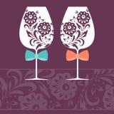 Romantyczna karta z dwa szkłami również zwrócić corel ilustracji wektora Fotografia Royalty Free