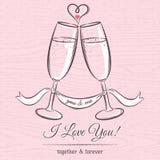 Romantyczna karta z dwa szkłami szampan i życzenie tekst Obraz Royalty Free
