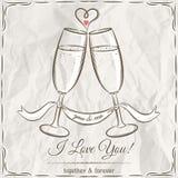 Romantyczna karta z dwa szkłami szampan i życzenie tekst Fotografia Stock