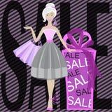 Romantyczna kobieta z zakupami w jej rękach sprzedaż Obraz Stock