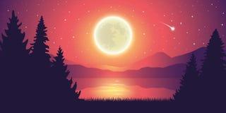 Romantyczna ksi??yc w pe?ni i spada gwiazdy jezioro krajobrazem ilustracji