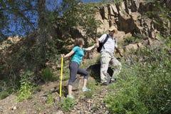 Romantyczna para turyści wzrasta w górach Fotografia Stock