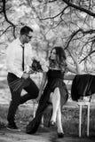 Romantyczna pary dziewczyna, chłopak ma zabawy lata parka i Obrazy Royalty Free