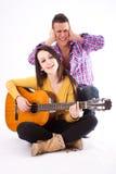 romantyczna pary gitara zdjęcia royalty free