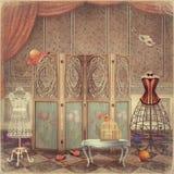 Rocznik atrapa i ekran w pokoju, modnym ilustracja wektor