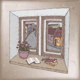 Romantyczna rocznik karta z książkami na windowsill koloru nakreśleniu ilustracji