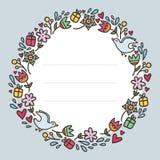 Romantyczna round rama z kwiatów, serc, prezentów i ptaków isola, royalty ilustracja