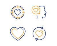 Romantyczna rozmowa, serce i walentynka, celujemy ikony ustawia? Aktualizacj zwi?zk?w znak wektor royalty ilustracja