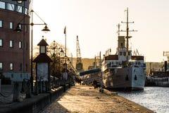Romantyczna schronienie portu scena w Gothenburg Szwecja przy zmierzchem Zdjęcie Royalty Free