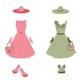 Romantyczna suknia, kapelusz, torba, rękawiczki, szpilki wewnątrz ilustracji