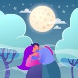 Romantyczna wektorowa ilustracja na historia miłosna temacie Szczęśliwi płascy ludzie charakterów royalty ilustracja