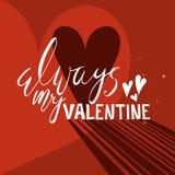 Romantyczna wycena na jaskrawym czerwonym tle z sercami Fotografia Royalty Free