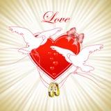 Romantyczna zaproszenie karta z gołębiami Obraz Royalty Free