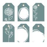 Romantyczne etykietki inkasowe z kwiatami Zdjęcia Royalty Free