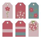 Romantyczne etykietki inkasowe z kwiatami Fotografia Royalty Free