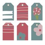 Romantyczne etykietki inkasowe z kwiatami Obraz Stock
