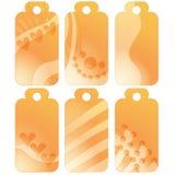 Romantyczne pomarańcz etykietki, etykietki z sercami lub Obrazy Royalty Free