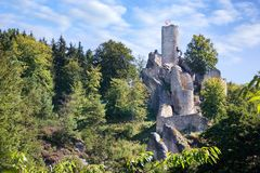 Romantyczne ruiny gothic grodowy Frydstejn od 14th centu , Bohem zdjęcia stock