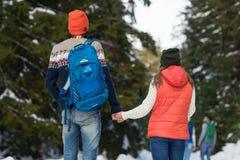 Romantycznej pary zimy spaceru kobiety I mężczyzna mienia ręk Śnieżny Lasowy Plenerowy Z powrotem Tylni widok Obrazy Royalty Free