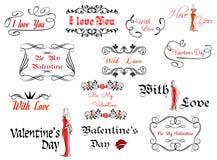 Romantyczni i walentynka dnia chodnikowowie ilustracja wektor