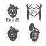 Romantyczni plakaty z ludzkim sercem, zredukowane ręki, gramofon ho Zdjęcia Stock
