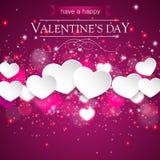 Romantyczni walentynek serca w purpurowy tła unosić się Zdjęcie Stock