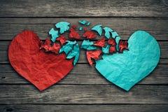 Romantyczni związku pojęcia dwa serca wymieniają uczucia Obrazy Royalty Free
