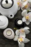 Romantyczny życie z teapot i orchideą Zdjęcia Royalty Free