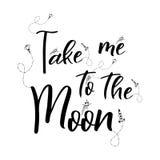 Romantyczny astronautyczny wycena literowanie ręka pisać plakat z doodle elementami ja księżyc bierze Wektorowy kreskówka projekt ilustracji