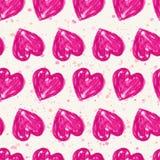 Romantyczny bezszwowy wzór z akwareli sercami Wektorowy illustr Zdjęcia Stock