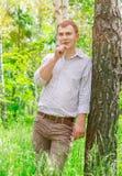 Romantyczny facet w parku Fotografia Royalty Free