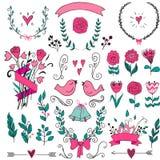Romantyczny grafika set, strzała, serca, ptaki, dzwony, pierścionki, bobek, wianki, faborki i łęki, royalty ilustracja