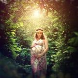 Romantyczny i podniecający kobieta w ciąży outside Obrazy Royalty Free
