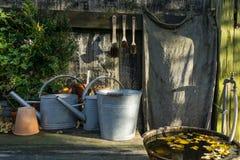 Romantyczny idylliczny roślina stół w ogródzie z starym retro kwiatu garnkiem puszkuje, wytłacza wzory, i rośliny zdjęcie stock