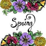Romantyczny kartka z pozdrowieniami w pastelowych kolorach Wiosna tekst Wiosen sformułowania ilustracji